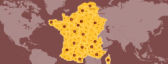 "Visuel ""nos implantations"" représentant la carte de France"